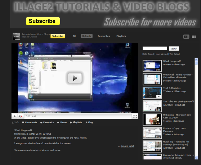 My New channel page design on YouTube.
