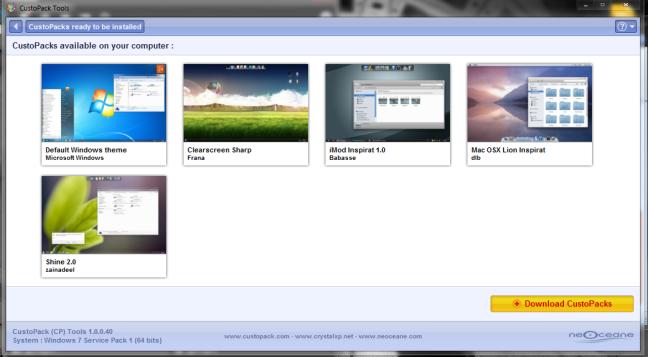 Custopack tools running on Windows 7