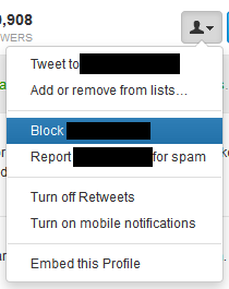 How to block someone on twitter.